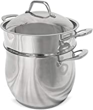 Fortune Candy 10-Quart Pasta Pot with Strainer Insert, Multi Cooker Cookware Set, 18/8 Stainless Steel, 3-Piece, Dishwashe...