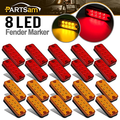 Partsam 4inch 20Pcs Side Marker Car Truck Trailer Light Indicators 8-LED Amber/Red