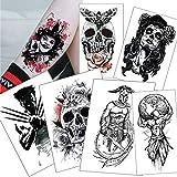 6 Piezas Pegatinas De Tatuaje Temporal Demonio Cráneo Suicida Escuadrón Tatuaje Joker Negro Impermeable Falso Tatuaje