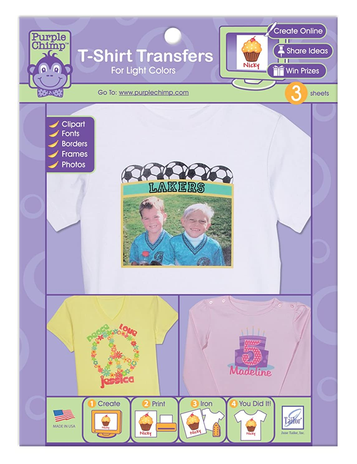 June Tailor 3-Pack Purple Chimp Iron-On Transfers for Light Colors