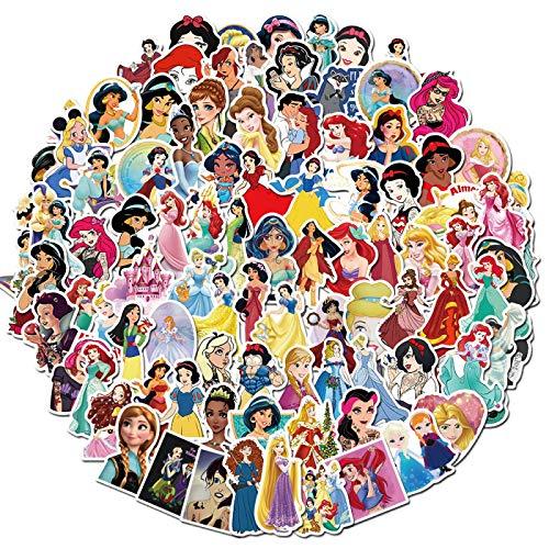 MBGM 100 pegatinas de dibujos animados Disney Princess Drive to Series Graffiti Balance Scooter Scooter Scooter Coche Eléctrico Casco Pegatina