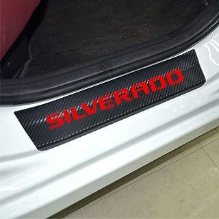 Car Entry Guard Sticker for Chevrolet Silverado Decoration Scuff Plate Carbon Fibre Vinyl Sticker Car Styling Accessories (red)