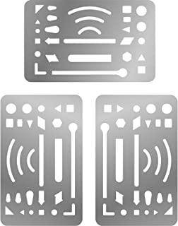 Sumind 3 Packs Erasing Shield Stainless Steel Letter Shield Craft Drawing Drafting Tool