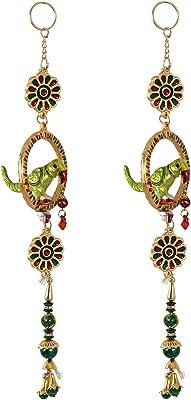 Handicrafts Paradise Door Hanging Pair in Metal Parrot Shaped with Bells 13 Inch