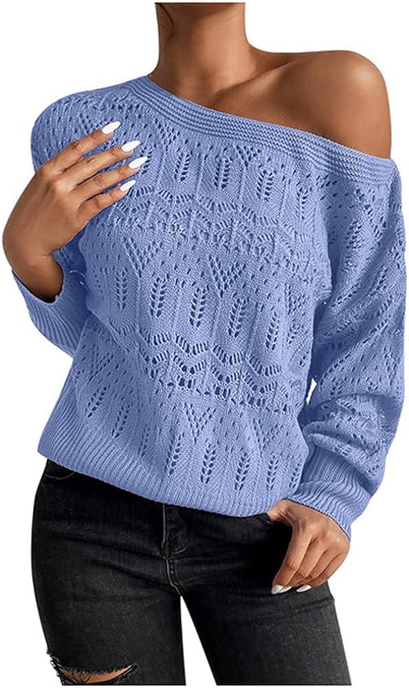 NP Women's Hollow Casual Shoulder Knitted Sweater Long Sleeve Sweaters Streetwear