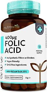 Tabletas de ácido fólico 400 mcg - 400 tabletas veganas - Suministro 13 meses - Función normal del sistema inmunológico y ...