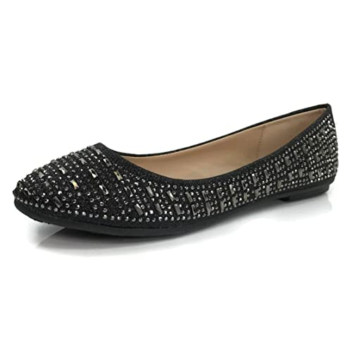 6a1ea1916b8e Womens Crystal Rhinestone Coverered Ballet Flats Slip On Glitter Shoes