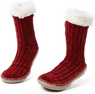 NIce Caps Kids and Baby Unisex Sherpa Lined Non-Skid Gripper Knit Slipper Socks