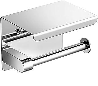 MJL Toilet Roll Holder with Shelf Toilet Paper Holder Stainless Steel Drilling Toilet Roll Holder for Bathroom Toilet 0