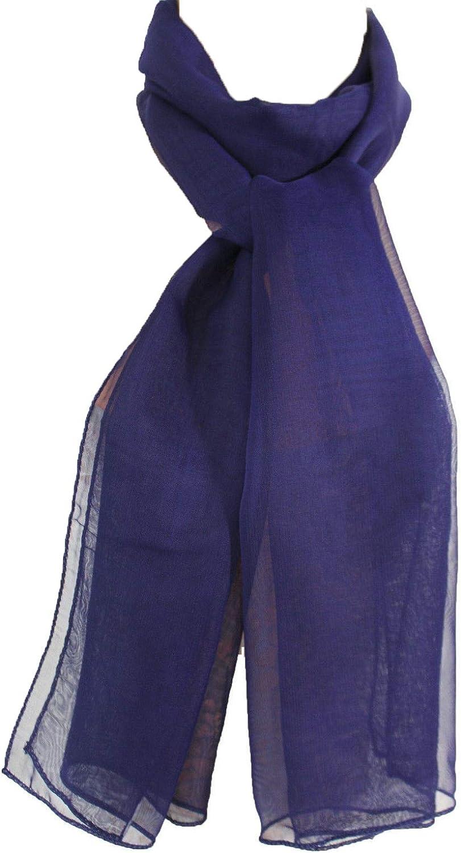 TFJ Women Fashion Neck Scarf Long Sheer Soft Fabric Elegant Dark Blue Navy