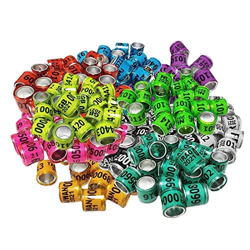 FLAMEER 100 Piezas 2021 Anillo de Pierna de Paloma de Carreras de Aluminio Bandas 8mm Multicolor Colores Brillantes y números - Multicolor