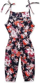 ce0a0af185e1 Kids Little Girls Cami Strap Layers Harem Jumpsuit Floral Summer Overalls  Outfit Navy Blue