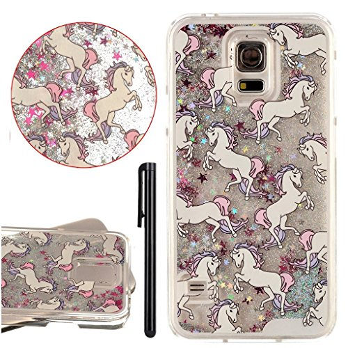 KAWOO Galaxy S5 Shiny Stars Case,Cartoon Horse Liquid Floating Glitter Clear Hard Case Cover for Samsung Galaxy S5(Silver)