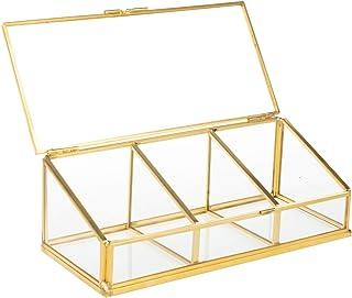Feyarl ジュエリーボックス ジュエリー入れ 宝石箱 ジュエリー収納 ガラスボックス ゴールド