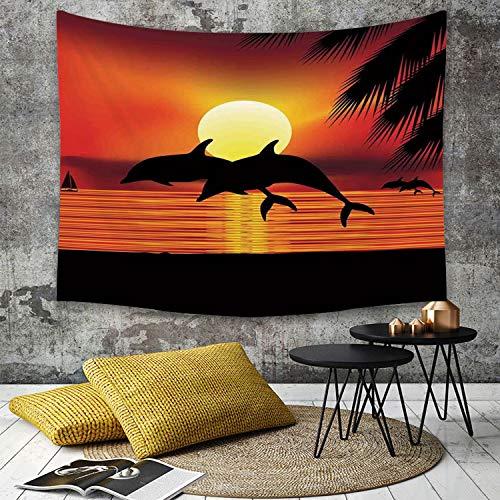 Yaoni Tapestry Pared paño Mantel Toalla de Playa,Ballena, Dos Delfines en el océano al Atardecer con Hojas de Palmera romántica Vista del,Decoraciones para el hogar para la Sala de Estar Dormitorio
