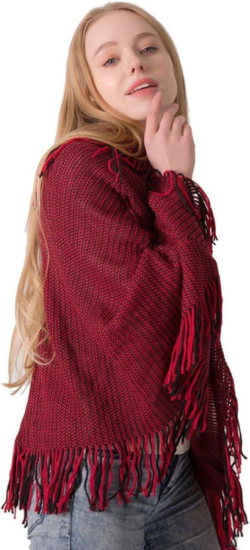 Lingyuansale Autumn d winter scarves, fashion cloaks, lapel sweaters, ladies knit sweater cloak shawls Soft Women Scarf