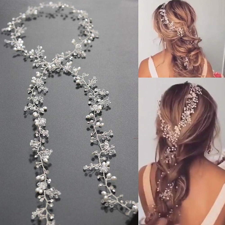 Bridal Tiara Bridal Long disc Hair bit with a Wedding Bridal Bridal Tiara (color  Silver) Artificial Pearl Crystal Flower Bride Hair Comb Hair Clip Bride Bridesmaid Headdress