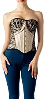 iB-iP Women's Golden Lace Up Vintage Bustier Flowers Patterned Overbust Corset