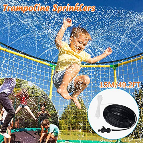 YOYO.RI Trampoline Sprinkler, Outdoor Trampoline Water Play Sprinklers for Kids, Fun Water Park Summer Toys Trampoline Accessories Rampoline Sprinkler Best Outdoor Toys for Kids Outside (Black)
