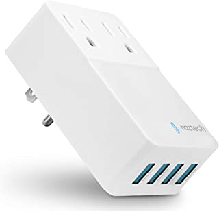 Naztech Multi-Device Charger [2 AC Outlet +4 High-Speed USB Ports] Charges 6 Devices at Once.Compatible For iPhones,Smartphones,Speakers,Computers,TVs