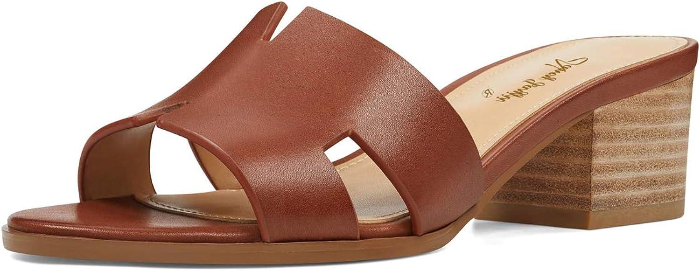 NJ Women Summer Stacked Block Heel Slide Mules Open Toe Strappy Cutout Slip On Outside Walking Dress Sandal Slippers