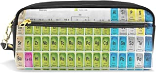 Pencil Case Colored Periodic Table Leather Pencil Pouch Bag Zip Pen Holder Organizer Stationary Bag for Students School Kids Boy Girl