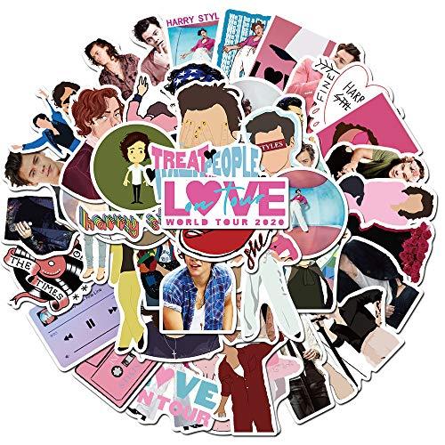 RGBEE One Direction Sänger Harry Styles Sticker 50 Stücke, Wasserfeste Vinyl Sticker Set für Laptop, Koffer, Helm, Motorrad, Skateboard, Snowboard, Auto, Fahrrad, Computer, Graffiti Aufkleber Decals