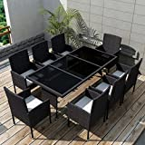 Tidyard 9 Piece Outdoor Dining Set with Cushions, 1 Table and 8 Chairs, 8 Cushions Set Poly Rattan Black