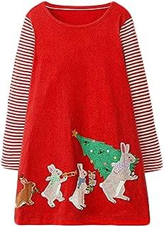 Toddler Little Girl Dress Casual Cotton Unicorn Stripe Long Sleeve Christmas Raindeer Basic Shirt Tunic