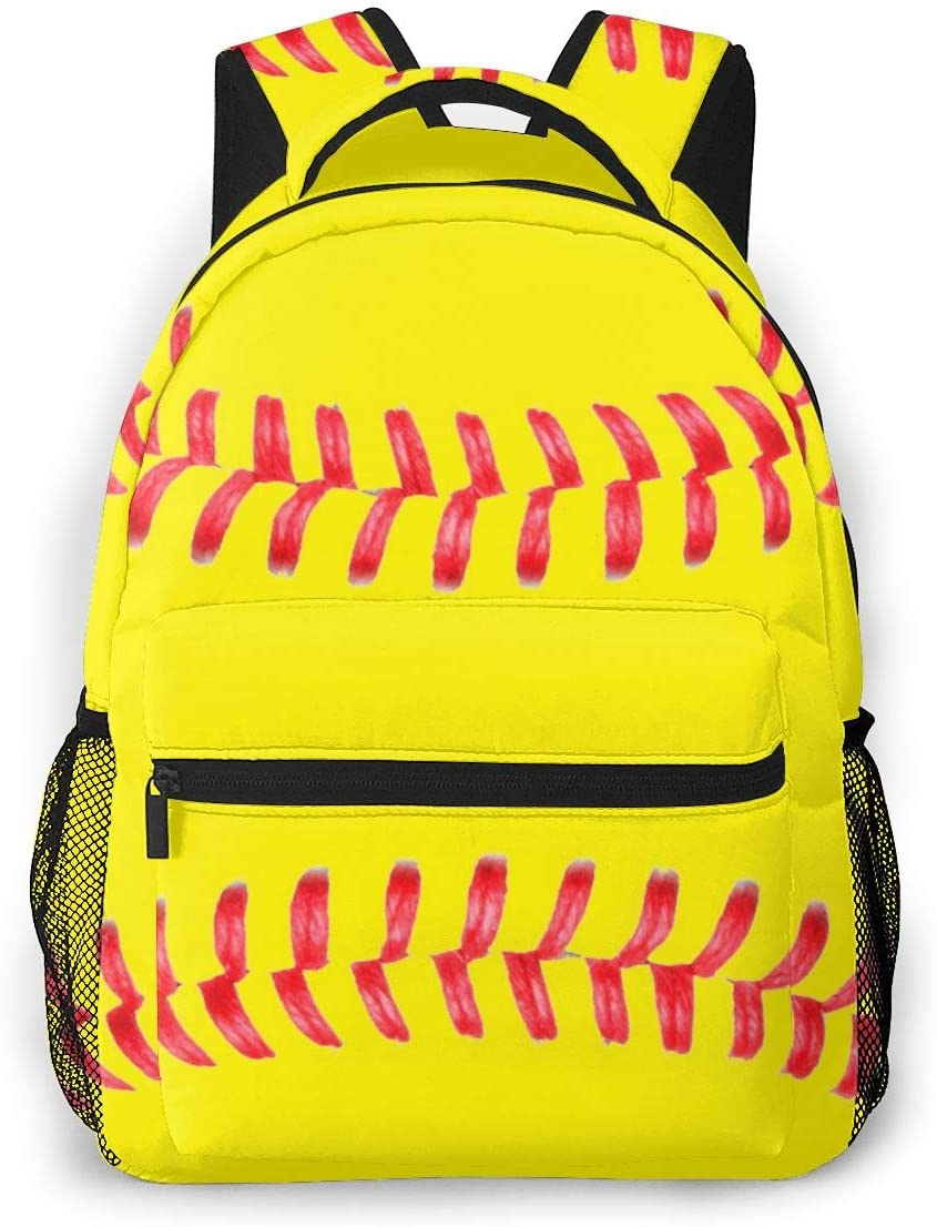 High material Yellow Softball Red Stripes Casual Teen Bookbag Gir Spring new work For Backpack