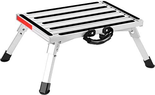 new arrival COSVALVE RV Folding Step Stool outlet sale with Handle, Aluminum Platform Step and Ladder, with Reflective Stripe, Anti-Slip Surface and Extra high quality Grip online