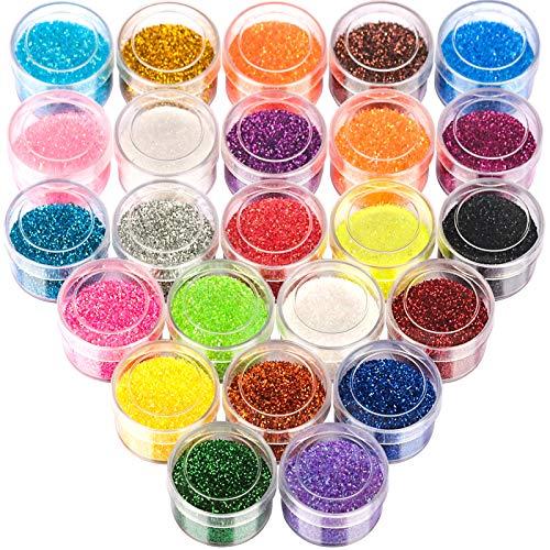 24 Farben Glitzer Set, FANDAMEI Glitzerpulver Set Feine Glitzerpuder Glitzer Pulver Nagel Glitter für Nagelkunst, Lidschatten, Gesicht, Basteln, DIY