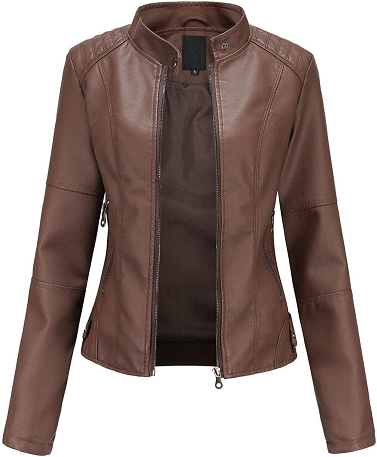 Faux Leather Jacket Women Motorcycle Fall Clothes Trendy Zip Jackets Slim-Fit Cropped Tops Short Thin Punk Coats