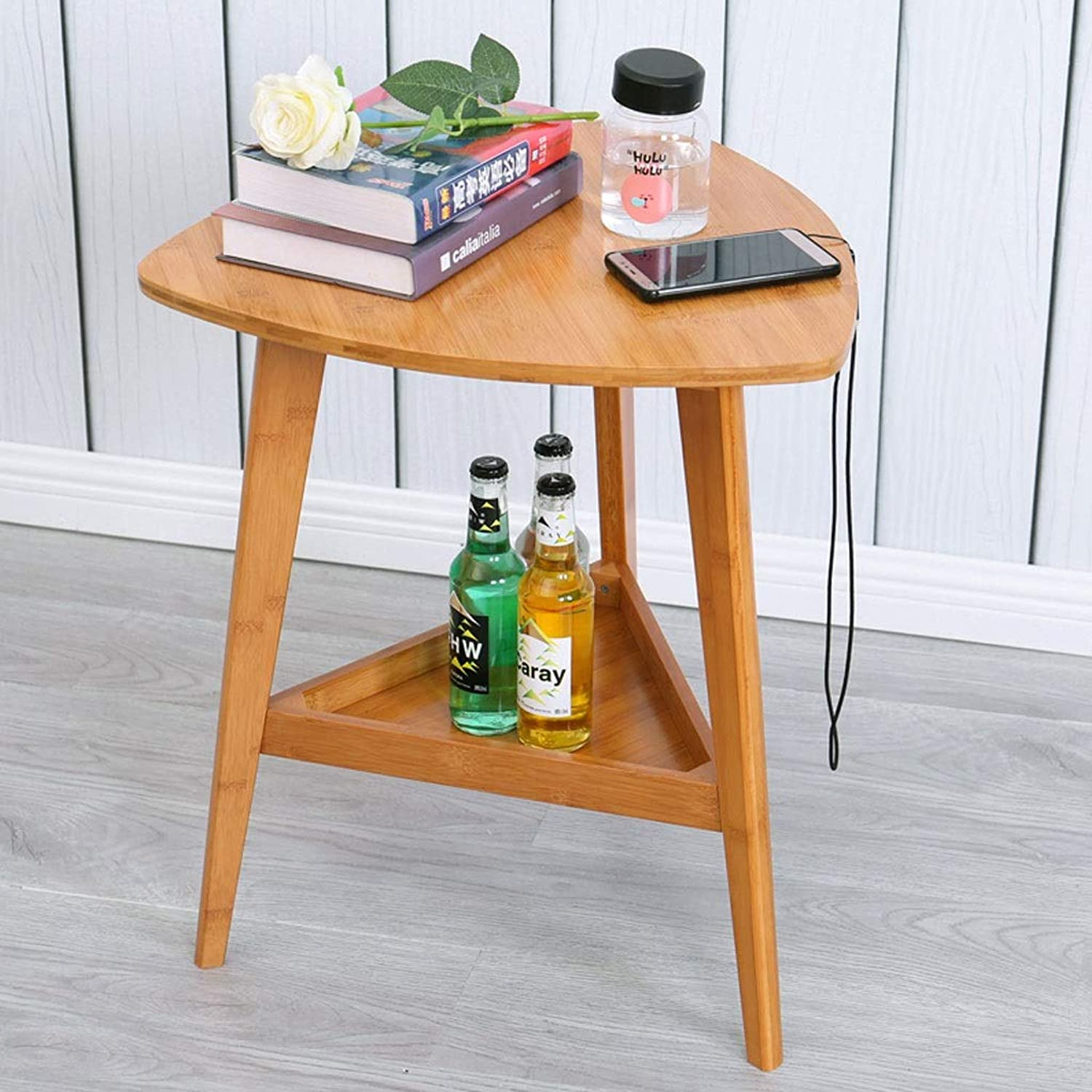 Bamboo Side Table Triangle Sofa End Table Living Room Phone Storage Rack Bedroom Balcony Coffee Casual Snack Table Double Rack