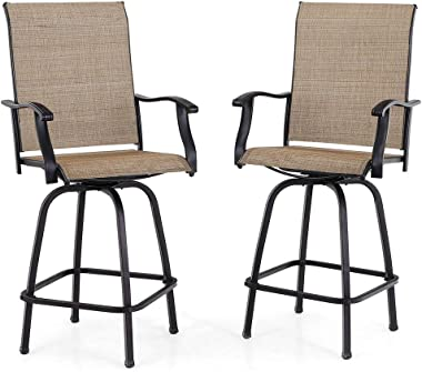 PHI VILLA Patio Swivel Bar Stools Set of 2, Outdoor Bar Height Patio Stools & Bar Chairs with High Back and Armrest, All-