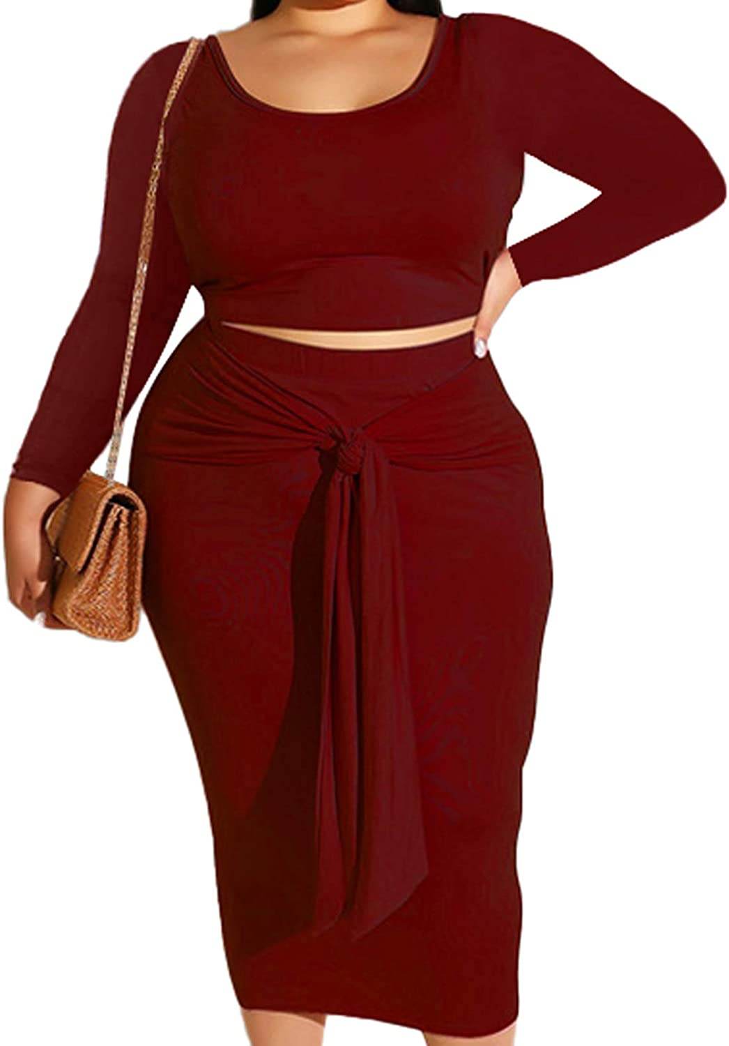 Red Two Piece Outfits for Women Plus Size Skirt Sets Bodycon Crop Top Mid Long Skirt Burgundy 3X