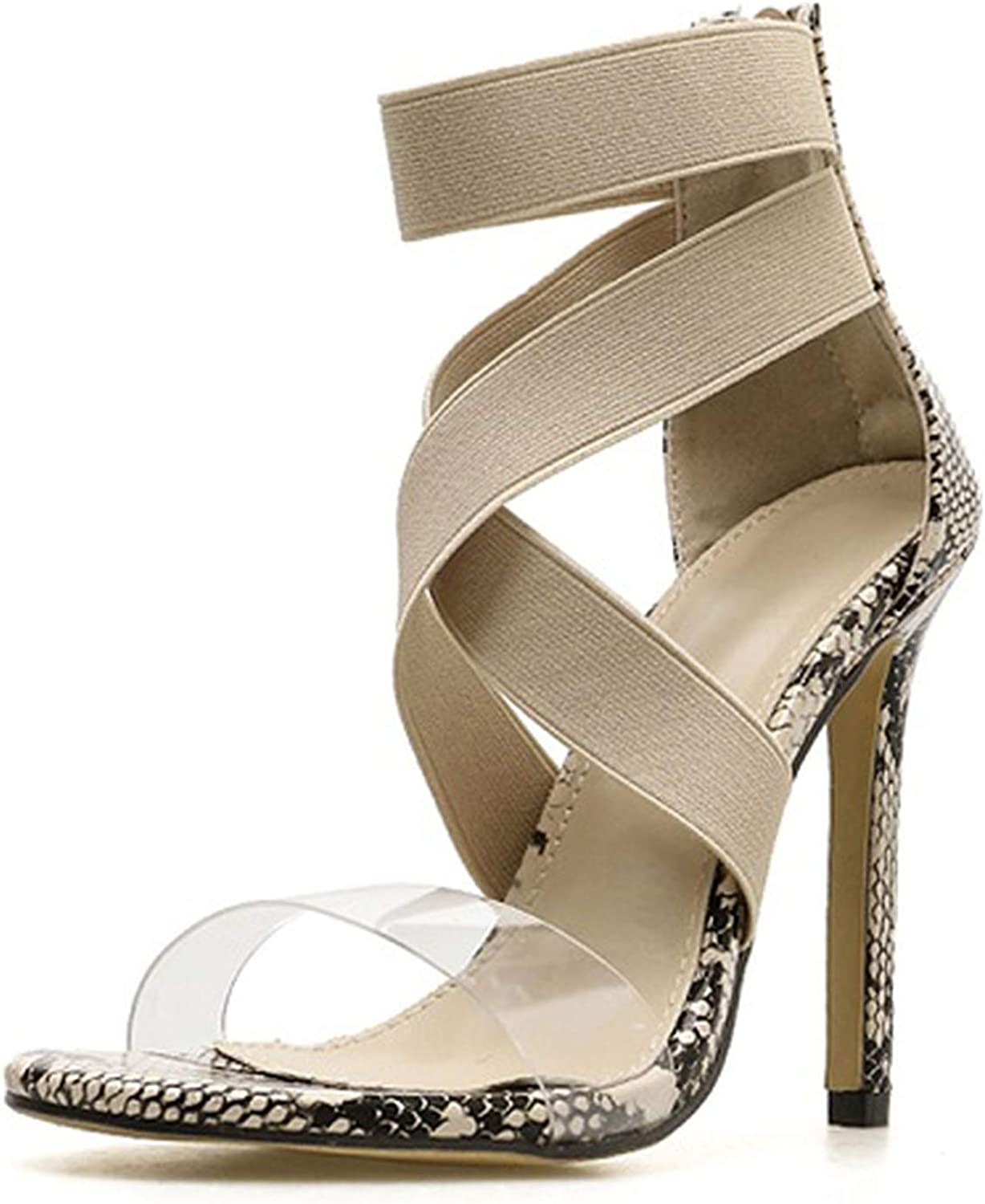 Ches Gladiator Sandals Women Club Party Sexy Stretch Fabric Zipper Sandals shoes Thin Heels Sandalias Feminina,Apricot,8