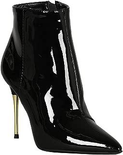 Women Patent Pointy Toe Metallic Heel Ankle Booties RD10