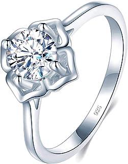 BORUO 925 纯银戒指,方晶锆石 CZ 永恒订婚结婚戒指 尺寸 4-12
