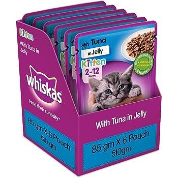 Whiskas Kitten (2-12 months) Wet Cat Food, Tuna in Jelly, 6 Pouches (6 x 85g)