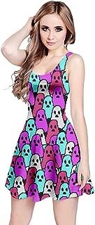 CowCow Women's Fashion Colorful Pastel Rainbow Petals Floral & Fun Halloween Print Vintage Sleeveless Dress, XS-5XL