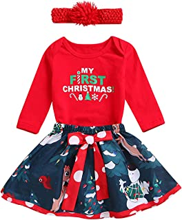 Baby Girls My First Christmas Outfit Long Sleeve Romper Tutu Skirt Dress Headband Set
