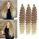 22 Inch Ocean Wave Crochet Hair 3 packs Wave Deep Twist Braiding Hair Deep Ripple Crochet Synthetic Braids Hair Extension (22 inch, 27/613)