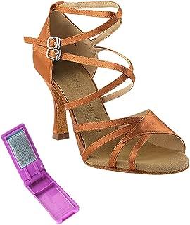 Very Fine Ballroom Latin Tango Salsa Dance Shoes for Women SERA1662B 3 Inch Heel + Foldable Brush Bundle