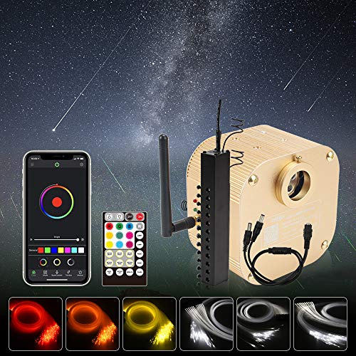 CHINLY Bluetooth Twinkle 16W RGBW APP Meteor LED Fiber Optic Headliner kit 450pcs 13.1ft Optical Fiber + 96pcs 9.8ft Shooting Stars+Adapter+Cigarette Lighter, Total 546pcs Mixed(0.03in+0.04in+0.06in)