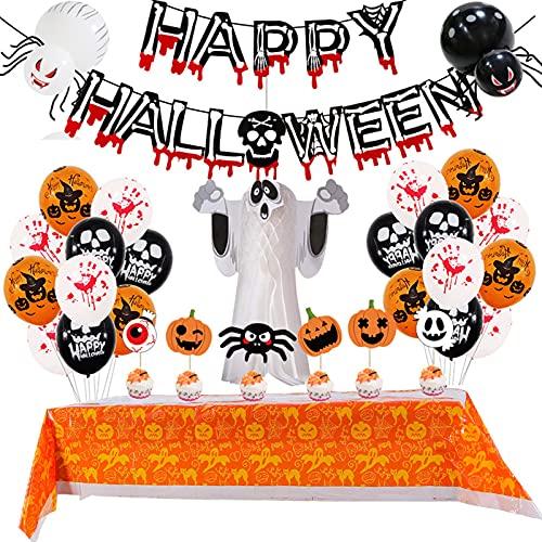 WYYUE 32 Pack Halloween Dekorationen für Kinder - Alles Gute zum Halloween Banner Blutige Gedruckt, Halloween Tischdecke, Halloween Ballons für Haunted Haus Partei Liefert