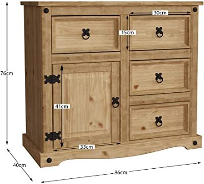 Marque Amazon - Movian Buffet Corona, 1 porte 4 tiroirs, bois de pin massif, 76 x 86 x 40 cm