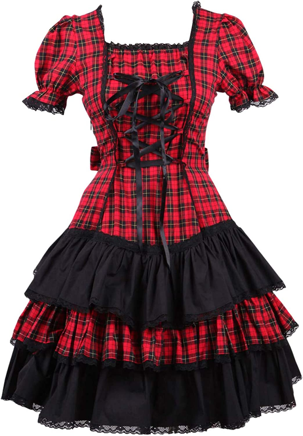 Antaina Red Plaid Cotton Ruffle Lace Gothic Student Lolita Cosplay Dress
