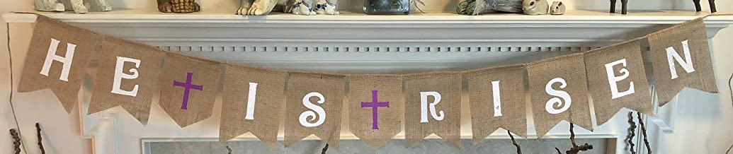 HE is Risen Burlap Banner - Easter Bunting Decoration with Crosses - Religious Holiday Bunting Wall Hanging - Ready to Hang Church Prop Decorations - by Jolly Jon ®
