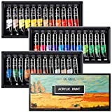 Set di Colori Acrilici 36 colori / tubi (12 ml / 0,4 once),per Pittura su Muro, Legno Tela, Legno, Ceramica, Argilla, Tessuto, per Artisti, Principianti o Bambini
